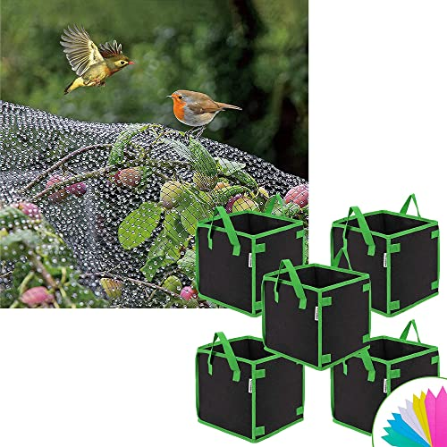 popular VIVOSUN outlet sale wholesale Anti Bird Netting 7.5' x 65' and 5 Pack 5 Gallon Square Grow Bags online sale