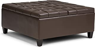 Simpli Home AXCOT-265-CBR Harrison 36 inch Wide Traditional Square Coffee Table Storage Ottoman in Chocolate Brown Faux Leather