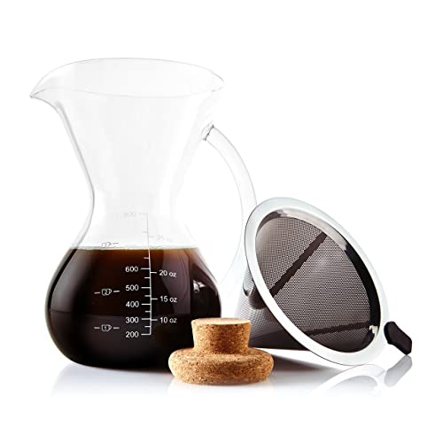 Apace Living Pour Over Coffee Maker Set w/Coffee Scoop and Cork Lid - Elegant