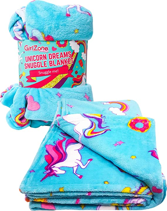 GirlZone: Unicorn Fleece Blanket Throw Blanket for Girls