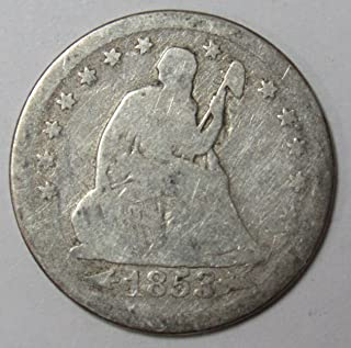 1853 P Seated Liberty Quarter with Arrows and Rays 25c VG