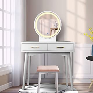 Vanity Table Set with Lighted LED Touch Screen Dimming Round Mirror,Makeup Dressing Table with 2 Sliding Drawers, 1 Cushioned Stool for Bedroom, Bathroom (White)