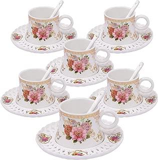 ufengke 4oz Flora Coffee Cup Set,Small Capacity Porcelain Coffee Tea Sets,Set of 6 Ceramic Tea Cup and Saucer