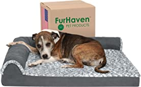 Furhaven Pet Dog Bed - Deluxe Orthopedic Two-Tone Plush Faux Fur & Suede L Shaped Chaise Lounge Living Room Corner Couch Pet Bed w/ Removable Cover for Dogs & Cats, Stone Gray, Large, (L Chaise) Two-Tone Stone Gray, 3. Large (44441087BX)