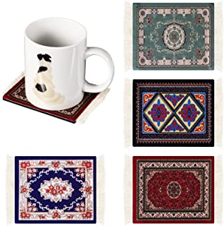 4 Pieces Dollhouse Decoration Accessories, Miniature Carpet Mini Turkish Rugs Woven Rugs Dollhouse Floor Blankets Rug Tabl...