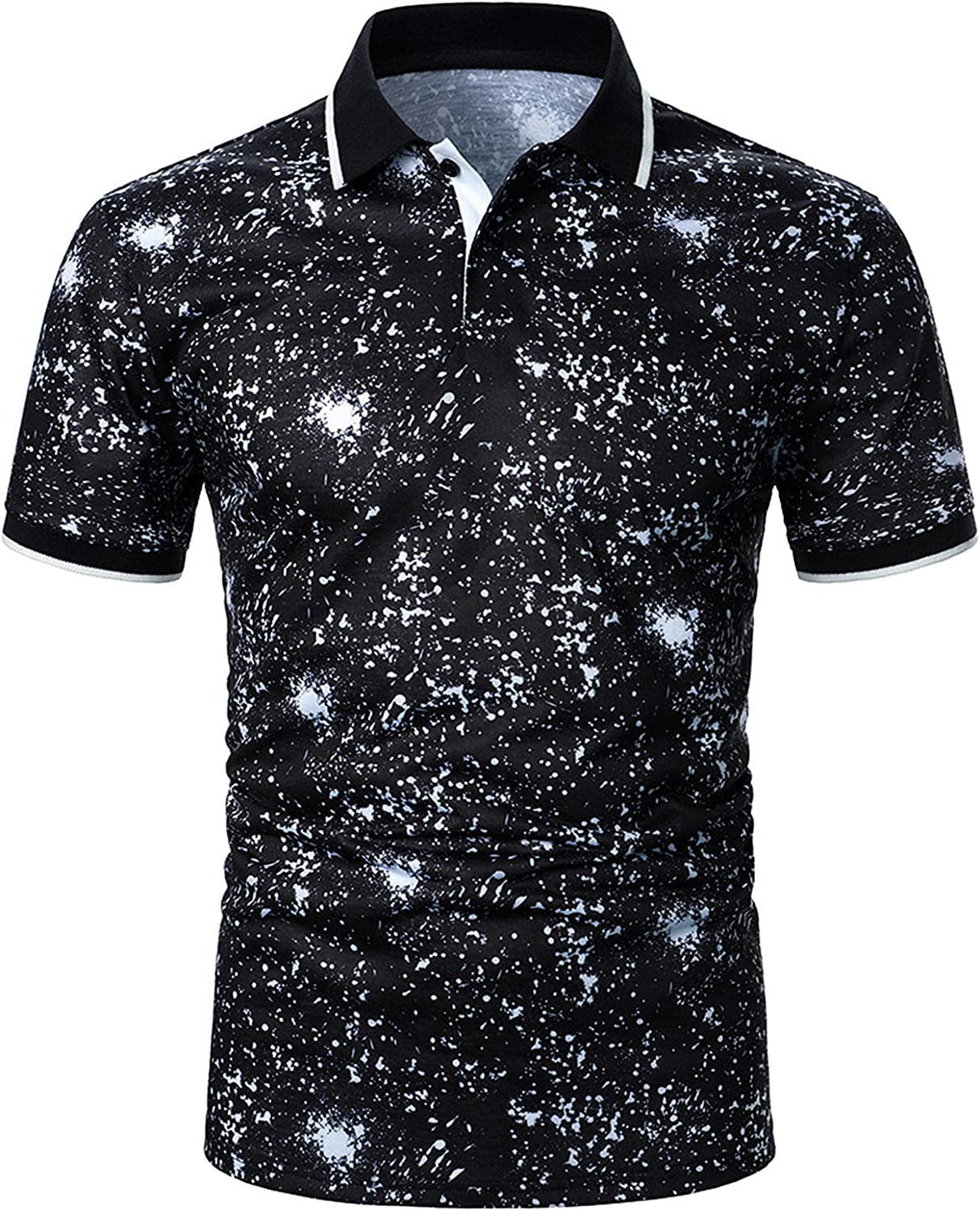 DZQUY Men's Summer Casual Slim Fit Polo Shirts Short Sleeve Hipster Printed Outdoor Athletic Soft Work T-Shirts Tops