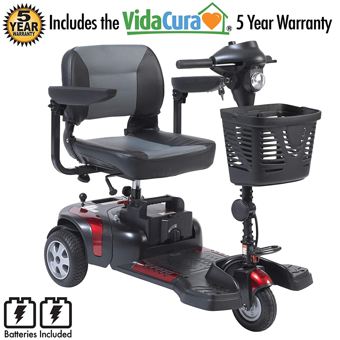 "Drive Medical Phoenix 3 Wheel Heavy Duty Scooter, 20"" Wide Seat Including 5 Year Extended Warranty"