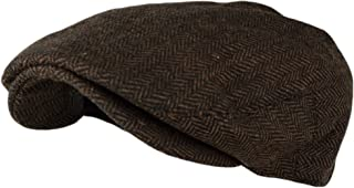 Wonderful Fashion Men's Classic Herringbone Tweed Wool Blend Newsboy Ivy Hat (Large/X-Large, Charcoal)
