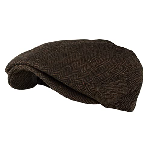 8087e7e18202a Wonderful Fashion Men s Classic Herringbone Tweed Wool Blend Newsboy Ivy Hat  (Large X-