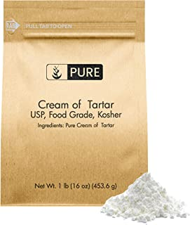 PURE Cream of Tartar (1 lb.), Eco-Friendly Packaging, All-Natural, Non-GMO, For Baking, Cleaning, DIY Bathbombs, & More