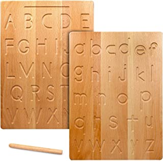Montessori Wooden Alphabet Tracing Board, Double-Sided Letters Practicing Board with Pen, Gift for Toddler to Preschool