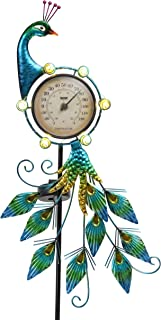 TERESA'S COLLECTIONS 39 inch Metal Peacock Garden Solar Lights Decor, Outdoor Solar Lights with Thermometer for Garden Yar...