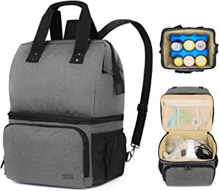 Luxja Breast Pump Bag with 2 Compartments for Breast Pump and Cooler Bag, Breast Pumping Bag with 2 Options for Wearing (F...