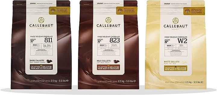 Copertura di cioccolato al latte fondente & bianco belga callebaut 3 x 2 5kg bundle B07B9KPHXM