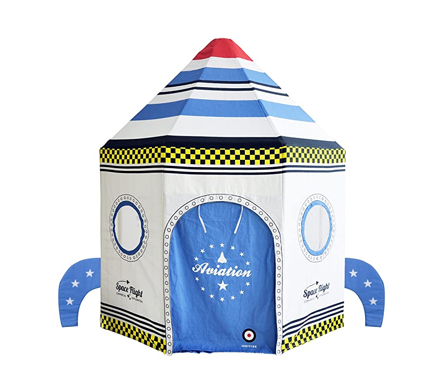 Asweets Rocket Ship Cotton Canvas Pavilion Play Tent, White
