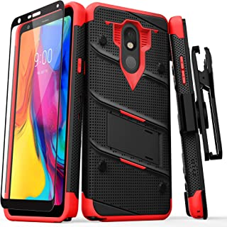 ZIZO Bolt Series LG Stylo 5 Case Military Grade Drop Tested with Full Glass Screen Protector Holster and Kickstand Black Red