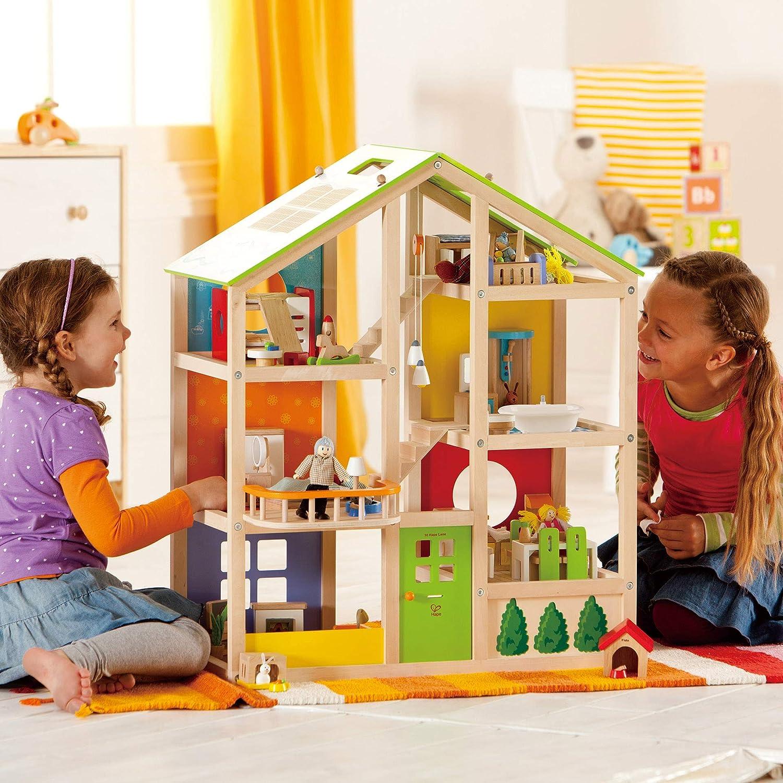 All Seasons Kids Wooden Dollhouse by Hape | Award Winning 3 Story Multicolor