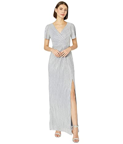 Adrianna Papell Metallic Knit Evening Gown (Ice Blue) Women
