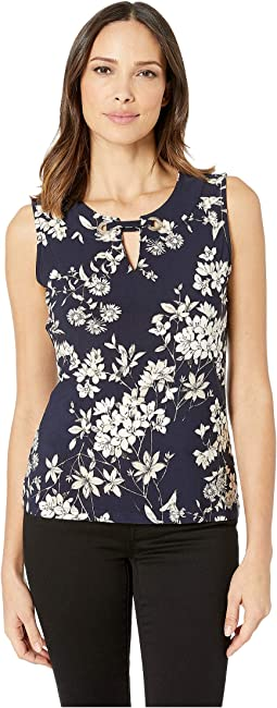 Floral Print Grommet Sleeveless Knit Top