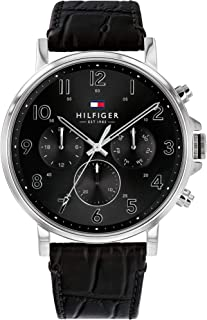 Tommy Hilfiger Daniel Men's Black Dial Leather Band Watch - 1710381