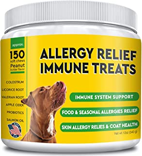 Allergy Relief for Dogs - Immunity Supplement with Omega 3 Salmon Fish Oil, Colostrum, Digestive Prebiotics & Probiotics - Anti Itch & Skin Hot Spots - Seasonal and Food Allergies Relief - 150 Chews
