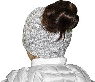 PEEKABOOS, Winter Ponytail Hat Beanie, High Low Hidden Openings, Cable Knit, Fleece Lined, Women/Girls (15 Colors)