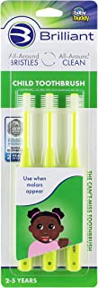 Brilliant Child Toothbrush by Baby Buddy - Ages 2-5 Years, When Molars Appear, BPA Free Super-Fine Micro Bristles Clean Al...