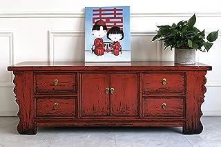 OPIUM OUTLET Aparador Cómoda Chifonier China Rojo Salon Dormitorio Comedor Estilo Shabby Chic Antiguo