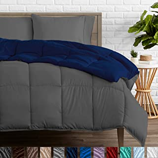 Bare Home Reversible Comforter - Twin/Twin Extra Long - Goose Down Alternative - Ultra-Soft - Premium 1800 Series - Hypoallergenic - All Season Breathable Warmth (Twin/Twin XL, Dark Blue/Grey)