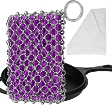 Herda Cast Iron Skillet Cleaner - Chainmail Scrubber Set for Cast Iron with Bamboo Wash Cloth, 316 Stainless Steel Chain M...