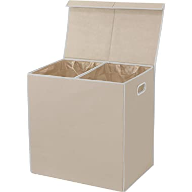Simple Houseware Double Laundry Hamper with Lid and Removable Laundry Bags, Beige