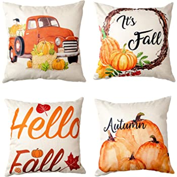 ZWJD Pillow Cover 18x18,Fall Pillow Covers Set of 4 Modern Sofa, Autumn Harvest Pumpkin Theme Decorative Linen Fabric Throw Pillow Case for Couch Bed Car 45x45cm