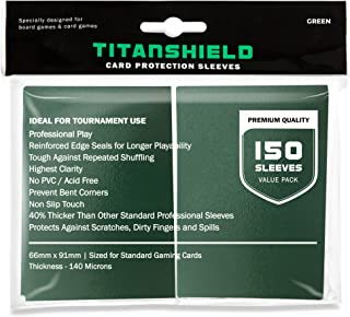 TitanShield (150 Sleeves/Green) Standard Size Board Game Trading Card Sleeves Deck Protector for Magic The Gathering MTG, ...