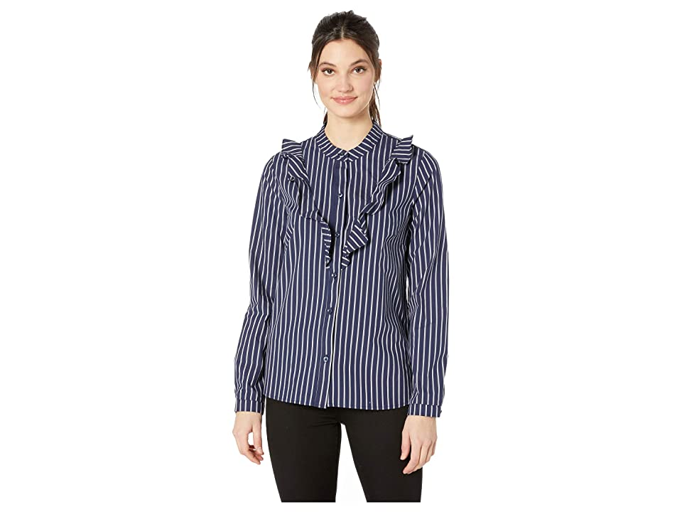 BCBGeneration Womens Ruffle Front Long Sleeve Woven Top