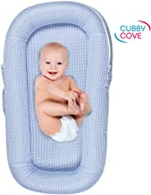CubbyCove Classic –The Truly Breathable Baby Lounger– Portable Nest for Cosleeping, Tummy Time and Playing. Super Soft and Includes Canopy (Blue).