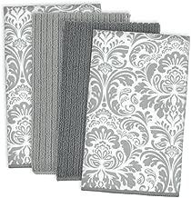 DII Trapo para Platos ultraabsorbente, de Damasco de Microfibra, para Limpiar, Lavar y secar, Juego de 4, Color Gris