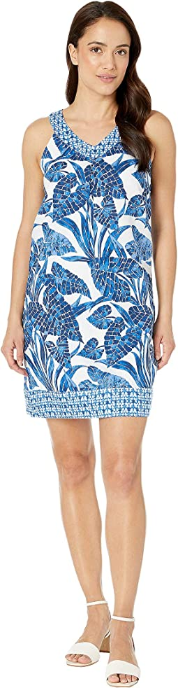 Mosaic Palm Mix Short Dress