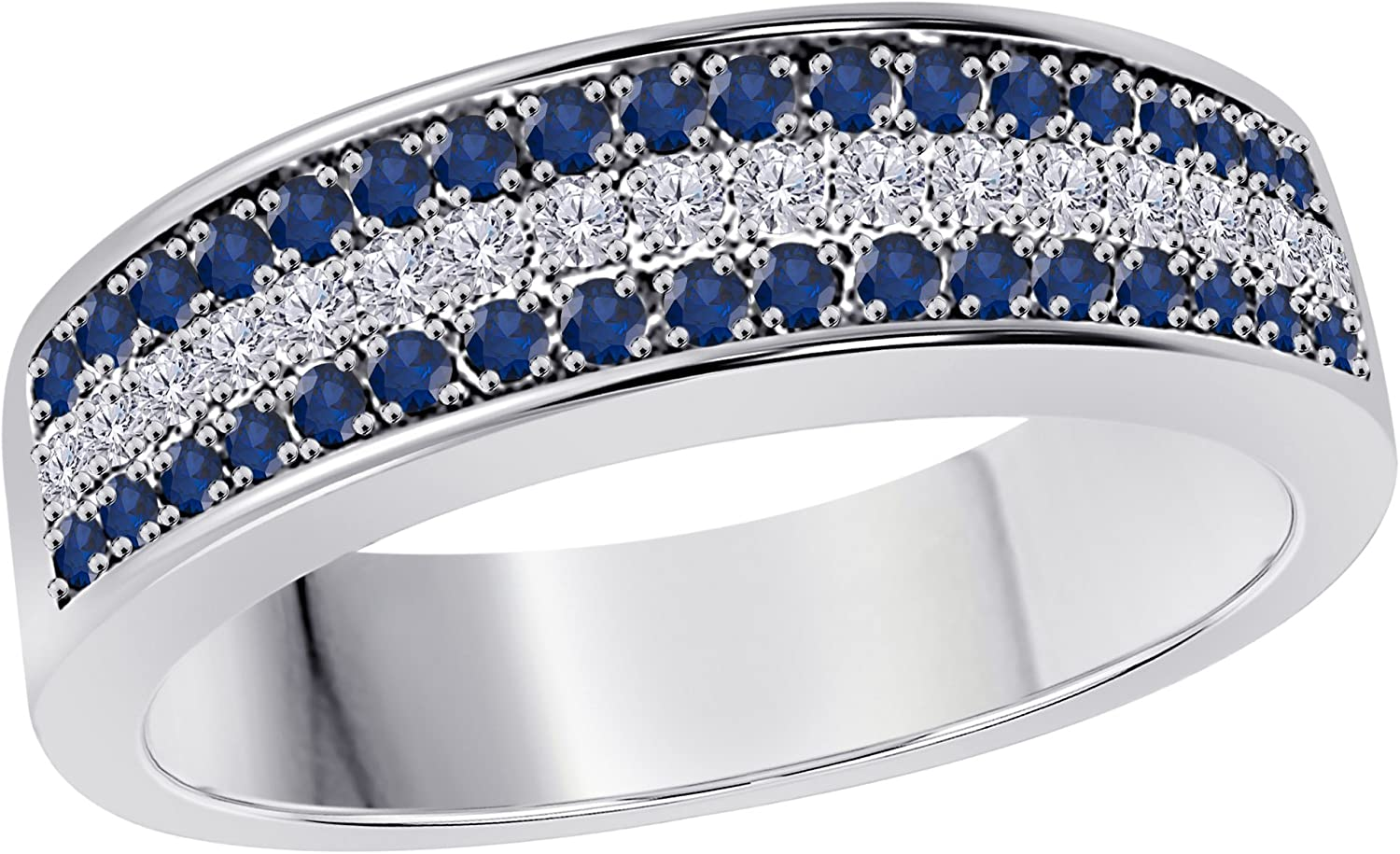 Gems and Dallas Mall Jewels 6mm 14K White Gold 2 1 Special price for a limited time W Blue Ct Over Sapphire