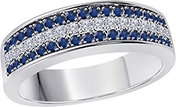 Silver Gems Factory 6MM 14K White Gold Plated 0.50CT Blue Sapphire & White Cz Diamond Ring 3 Row Pave Half Eternity Men's Anniversary Wedding Band Ring