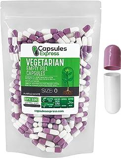 Capsules Express- Size 0 Lavender and White Empty Vegan Capsules - Vegetarian/Vegetable Pill Capsule - DIY Powder Filling ...