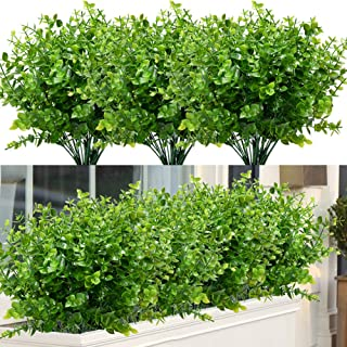 ArtBloom 8 Bundles Outdoor Artificial Boxwood UV Resistant Fake Stems Plants, Faux Plastic Greenery for Indoor Outside Hanging Plants Garden Porch Window Box Home Wedding Farmhouse Décor