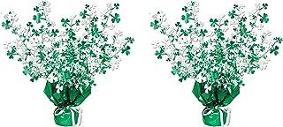 Beistle shamrock centerpiece, Green/White