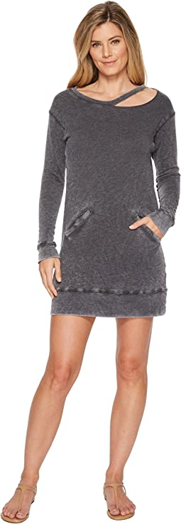 Allen Allen Long Sleeve Cut Neck Crew Dress