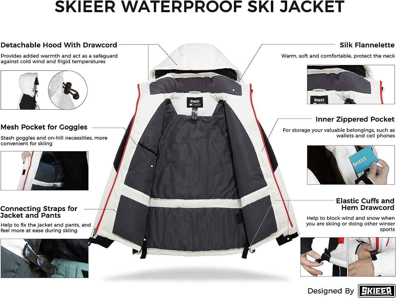 Skieer Mens Waterproof Ski Jacket Winter Snow Coat Windproof Snowboarding Jackets Warm Raincoat
