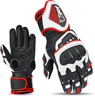 JET Motorcycle Gloves Premium Full Leather Gauntlet Race Hard Knuckle Gloves (Medium, Red)