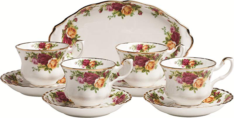 Royal Albert Old Country Roses 9 Piece Tea Cup Tray Set