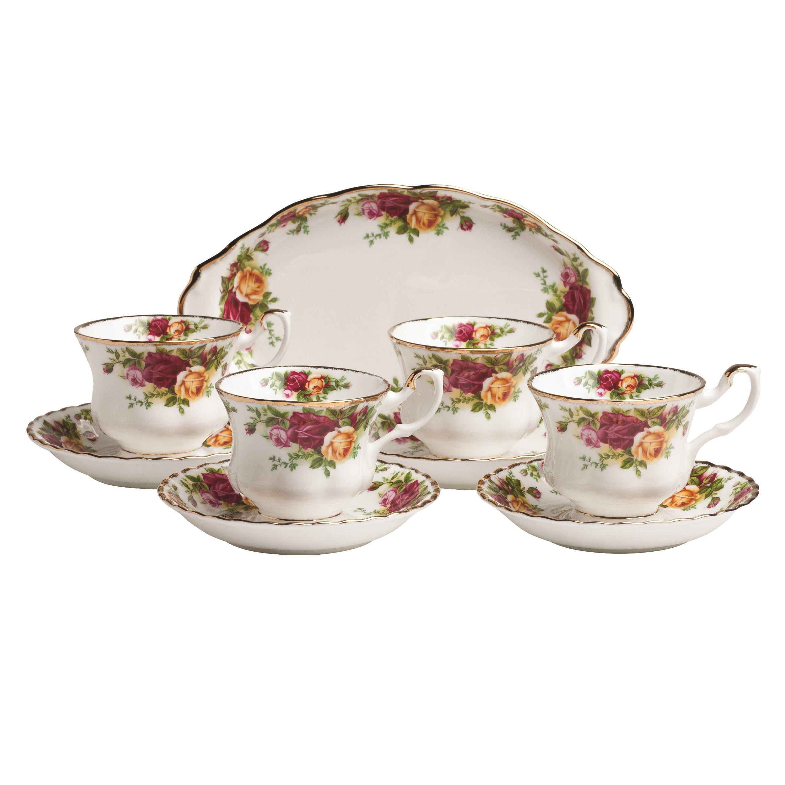 로얄 알버트 올드 컨츄리 로즈 티 세트 4종 Royal Albert Old Country Roses 9-Piece Tea Cup & Tray Set