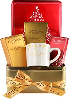 Thoughtfully Gifts, Godiva Hot Chocolate and Coffee Set, Includes Mug, 2 Flavor Packets of Cocoa and 1 Packet of Truffle Coffee