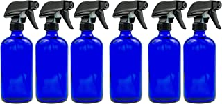 Blue Glass Spray Bottle - Large 16 oz Refillable Container for Essential Oils, Cleaning Products, or Aromatherapy - Black Trigger Sprayer w/Mist and Stream Settings - 6 Pack