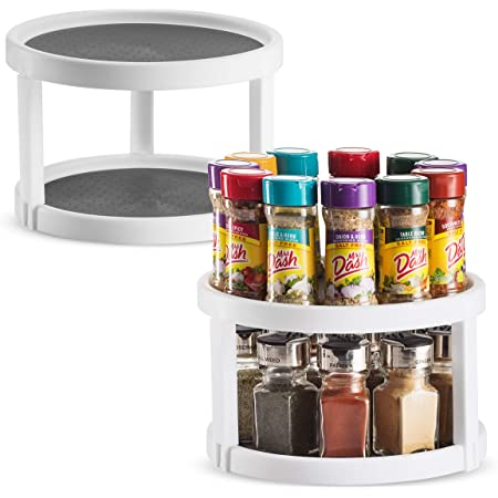 2 Pack Non Skid Lazy Susan Turntable Cabinet Organizer - 2 Tier 360 Degree Rotating Spice Rack - 10 Inch Spinning Carasoul Pantry, Kitchen, Countertop, Vanity Display Stand White/Gray